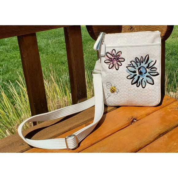 SOLD Coach Signature Bumble Bee Floral Crossbody